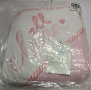 """Cloud Island Hooded Bath Towel. Girls """"All Clean"""" embroidered. Super Soft. NEW"""