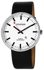 Gents Wristwatch Quarz Men's Watch Big 45 mm Train Station black white Date