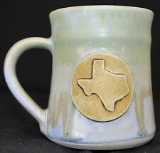 Texas Pottery Coffee Mug Green Blue State 3D Emblem Signed Drip Paint Glaze