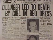 Vintage Newspaper Headline ~Crime Gangster Killed John Dillinger Gun Shot Dead~