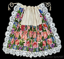AMAZING Croatian embroidery folk costume apron linen floral ethnic peasant style