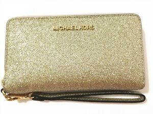 NWT Michael Kors Giftables Pale Gold Glitter LG Flat Phone Case Wristlet Wallet