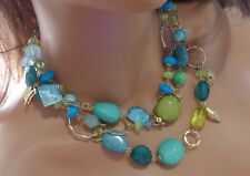 CHICO'S  TRIPLE STRAND NECKLACE W, BLUE AND GREEN STONES GOLD TONE
