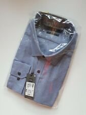 NEW M&S  SIZE 18in MENS PURE COTTON SLIM FIT NON IRON SHIRT  NAVY MIX
