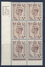 1938 5d Brown L42 3Bars  cyl 3 No Dot perf 6(I/P) block 6 UNMOUNTED MINT