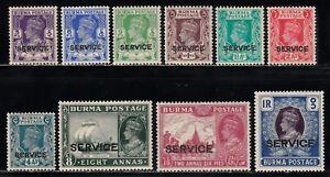 BURMA 1939 KGVI OFFICIAL SHORT SET TO 1r VALUE SCOTT O15-O24 MLH