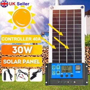 30W 12V Dual USB Solar Panel Flexible Battery Charger Kit Car + Controller UK