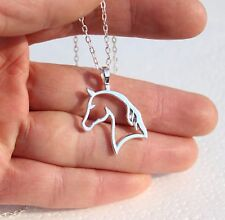 925 Sterling Silver Horse Outline Pendant with Necklace Chain UK SELLER slv P08