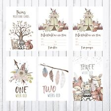 Twins Baby Milestone Cards, 4x6 Photo Prop, Woodland Animals, Deer Fox Bear