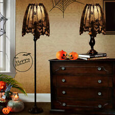 Black Lace Halloween Spider Web Bat Lamp Shade Drape Topper Curtains House Decor