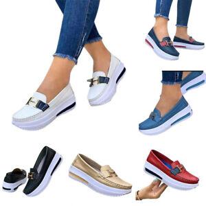 Women Sneaker Flat Shoes Loafers Slip On Pumps Casual Comfort Buckle Platform