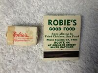 Vintage 1960 Matchbook Cover and Sugar Cube Robie's Restaurant Raynham MA