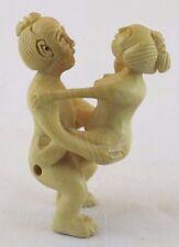 Erotic Shunga/Netsuke Wood Carving of Man and Woman  JZ-0447