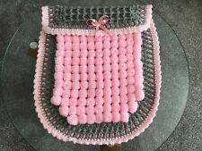 Beautiful Handmade Thick Pom Pom Blanket Pink/grey