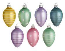 "EASTER TREE EGG ORNAMENTS unbreakable plastic 2.5"" glitter trim"