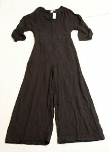 Gap Women's Tie-Belt Wide-Leg Gauze Jumpsuit CD4 Black Size 8 NWT