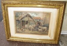 Great Water Color Barn Yard Scene Painting sheep, Hens + Signed GB Hammond 3830