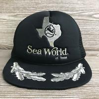 VTG 1988 SEA WORLD OF TEXAS BLACK FLORAL LEAF VENTED SNAPBACK TRUCKER HAT CAP