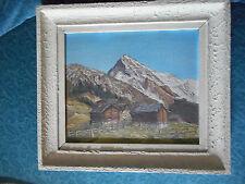 cadre avec Peinture Montagne neige chalet alpage C Strobel -dent blanche forclaz