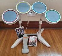 Nintendo Wii Rock Band Drums Harmonix Wired Drum Set Kit With Pedal & 2 Games