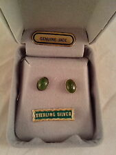 EARRINGS, 925 STERLING SILVER REAL JADE STUDS, 5X7mm