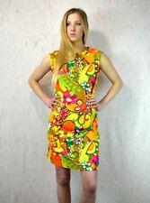 Vintage 60s Go Go Mod Hawaiian Mini Dress Floral Barkcloth Kabuki Shift Retro M
