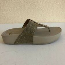 Baretraps Garnett Gold Glitter Thong Sandals Wedge Flip Flops Women Sz 6 M