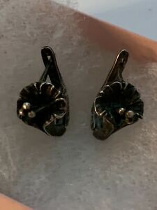 VINTAGE SOVIET RUSSIAN 875 STERLING SILVER LILY ORCHID FLOWER LEVERBACK EARRINGS
