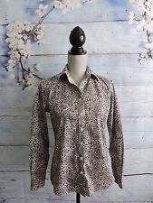 Lands End No Iron Pinpoint Oxford Shirt Button Down Brown Career Work Paisley 4