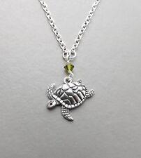 Turtle tortoise pendant necklace .. green crystal silver tone charm cute jewelry