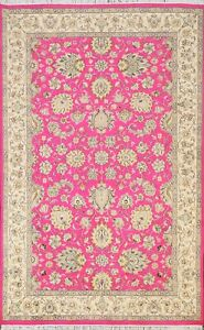 Pink Floral Traditional Oriental Area Rug Wool/ Silk Hand-knotted 5x7 New Carpet