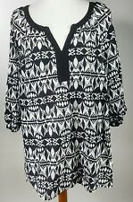 Style & Co. Woman Size 16W 3/4 Sleeve Tunic Top Black and White Shirt