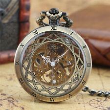 Antique Skeleton Open Face Glass Case Mechanical Hand Winding Mens Pocket Watch