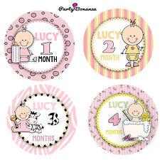 PERSONALISED BABY MONTHLY AGE MILESTONE STICKERS 13 BABY GIRL  VEST BABYGROW