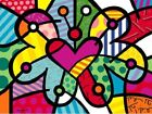 Heart Butterfly by Romero Britto Abstract Print 14x11