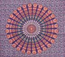 Indian peacock mandala tapestry cotton wall hanging bohemian hippie bedspread
