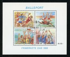 Norway Scott #934 MNH S/S Stamp Day '88 Ball Sports Mehamn CDS CV$10+