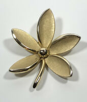 Vintage Crown Trifari Flower Brooch Brushed Gold Tone Petals Pretty Costume