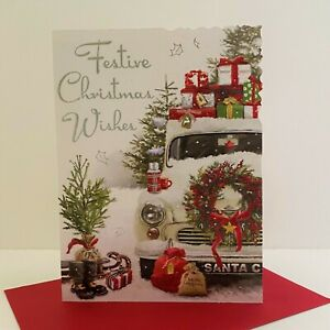 Jonny Javelin Festive Christmas Wishes Card Retro Car Presents/XV100