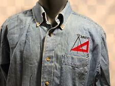 MECO Engineering L.L. Bean Button Front Blue Denim Shirt Men's Size L