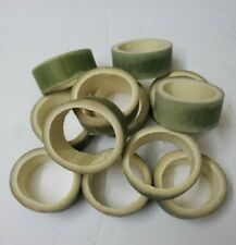 12 Unfinished Real Round Bamboo Flat Loop Circle Slices Cut for Ornament Crafts