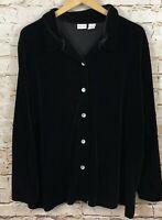 Cherokee womens 22/24W black velour velvet button front shirt top long sleeve DH