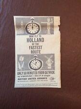 M62-9 Ephemera 1961 Advert British United Airways To Holland