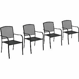 Interion Outdoor Café Steel Mesh Stacking Armchair - 4 Pack