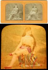 vue stéréo FEMME LEGERE   vers 1860-70  / tissue polyorama