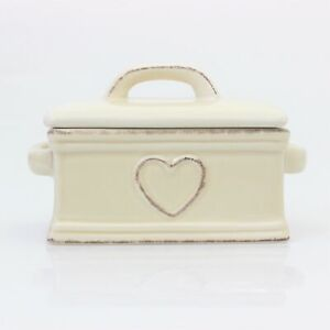Ceramic Cream Heart Butter Dish Storage Serving Dish Tray With Lid Boxed New