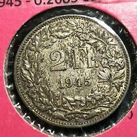 1945 SWITZERLAND SILVER 2 FRANCS COIN BETTER GRADE