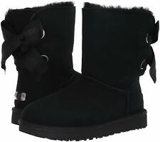 UGG BAILEY BOW SHORT Customizable Leather Boots 1098075 Size 8 – BLACK - New!