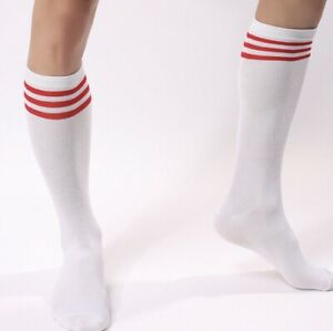 1 Pair Men's High Knee Athletic Tube Socks 80's Classic Old School With Stripes