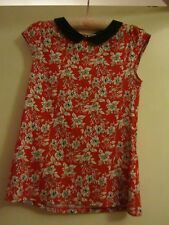 Red Black & White Floral Cotton D Perkins Short Sleeve Top in Size 10 - NWOT